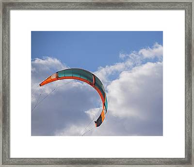 Kiteboard Sail In The Clouds On Pompano Beach Florida Framed Print by Toby McGuire