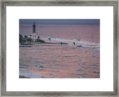 Kiteboarding At Hillsboro Framed Print