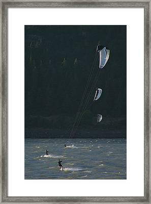 Kiteboarding On The Columbia River Framed Print by Skip Brown