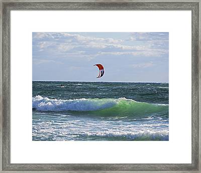 Kiteboards On Pompano Beach Florida Framed Print by Toby McGuire