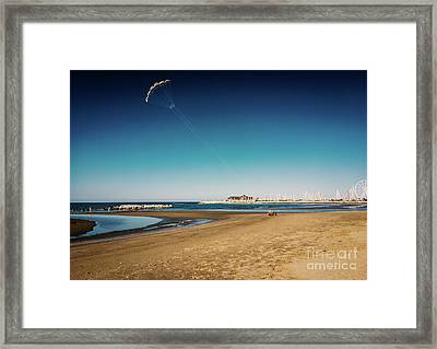 Kitesurf On The Beach Framed Print