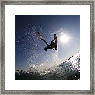 Kitesurfing In The Mediterranean Sea  Framed Print by Hagai Nativ