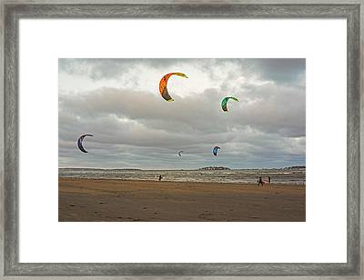 Kitesurfing On Revere Beach Framed Print