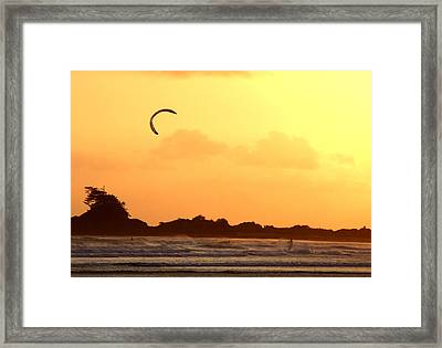 Kitesurfing The Sunset Framed Print by Mark Alan Perry