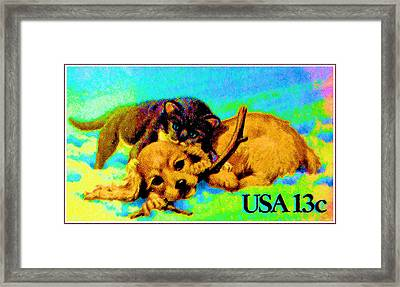 Kitten And Puppy Framed Print by Lanjee Chee