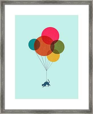 Kitten Baloon Trip Framed Print