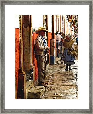 Kitten In The Doorstep, Patzcuaro Framed Print by Mexicolors Art Photography