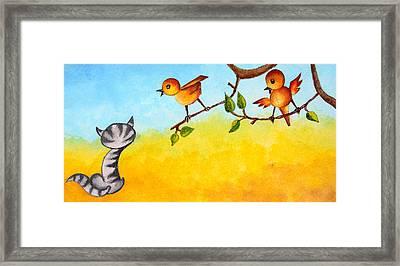 Kitten Scaring The Birds Framed Print
