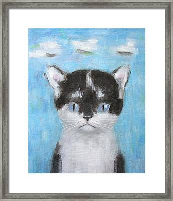 Kitten With Three Clouds Framed Print