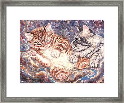 Kittens Sleeping Framed Print by Linda Mears