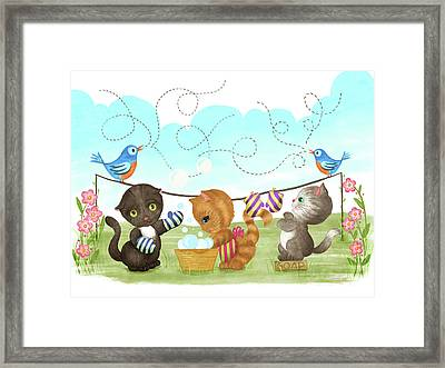 Kittens Washing Mittens Framed Print by Little Bunny Sunshine