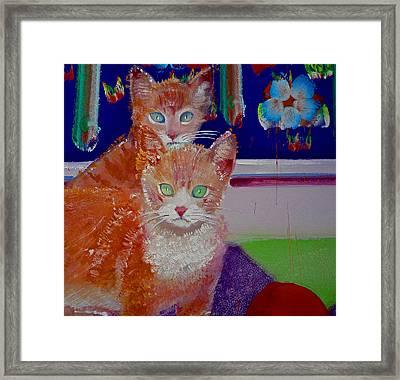 Kittens With Wild Wallpaper Framed Print by Charles Stuart
