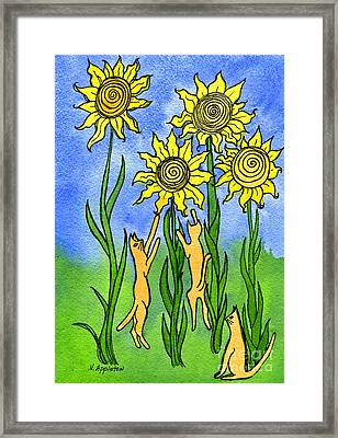 Kitties Climbing Flowers Framed Print by Norma Appleton