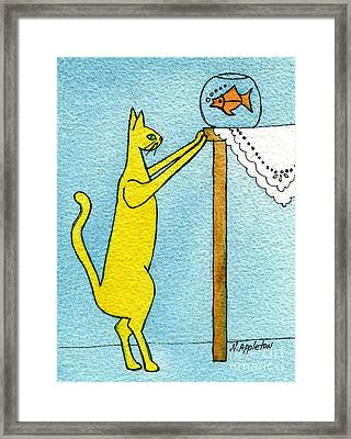 Kitty And The Fish Framed Print by Norma Appleton