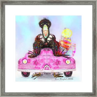 Kitty Car Crow Framed Print
