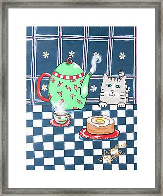 Kitty Cat Tea Time Framed Print