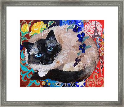 Kitty Goes To Paris Framed Print by Robin Maria Pedrero