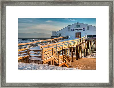 Kitty Hawk Pier In Snow 6652 Framed Print