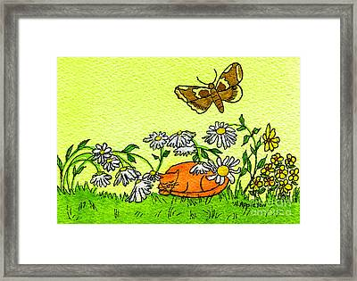Kitty In The Garden Framed Print by Norma Appleton