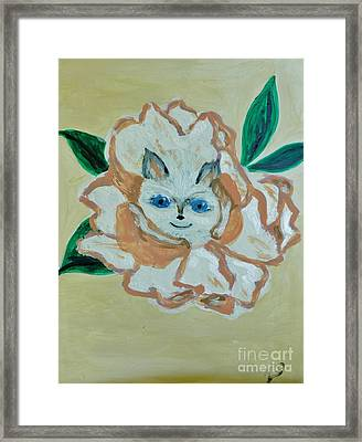 Kitty In The Magnolia Blossom Framed Print by Marie Bulger