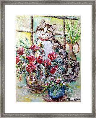 Framed Print featuring the painting Kitty In The Window by Linda Shackelford