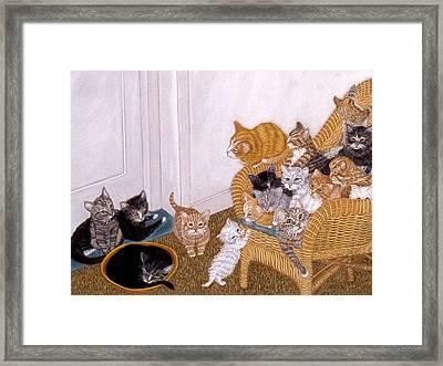 Framed Print featuring the painting Kitty Litter II by Karen Zuk Rosenblatt