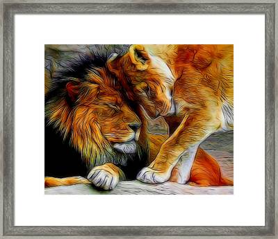 Kitty Love Digital Art Framed Print