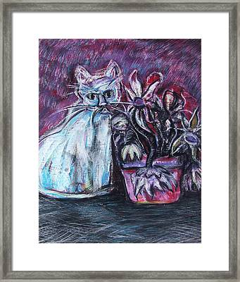Kitty With Flowers Framed Print