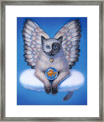 Kitty Yin Yang- Cat Angel Framed Print