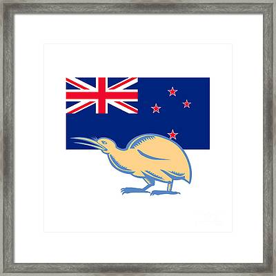 Kiwi Bird Nz Flag Woodcut Framed Print