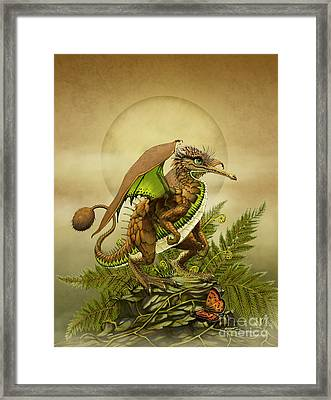 Framed Print featuring the digital art Kiwi Dragon by Stanley Morrison