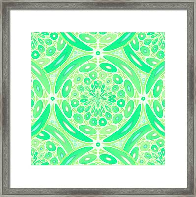 Kiwi Green Geometric Framed Print