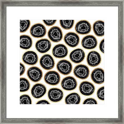 Kiwi Pattern Framed Print by Elisabeth Fredriksson