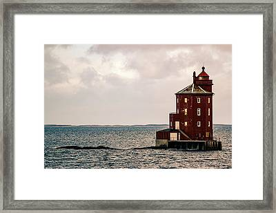 Kjeungskjaer Lighthouse Norway Framed Print