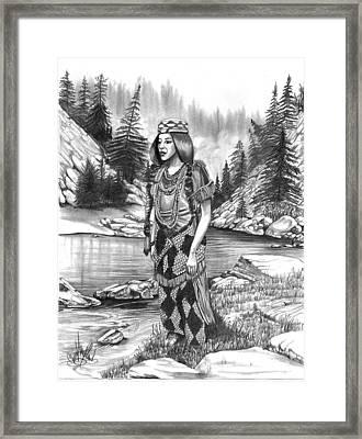 Klamath Indian Woman Framed Print by Cheryl Poland