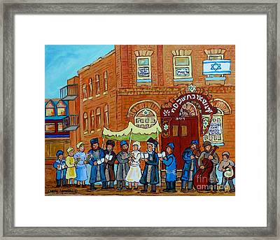 Klezmer Band Street Musicians Under The Chupa Wedding Bagg Street Jewish Art Carole Spandau          Framed Print
