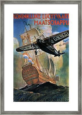 Klm - Royal Dutch Airlines Aircraft Flying Over A Sailing Ship - Vintage Advertising Poster Framed Print
