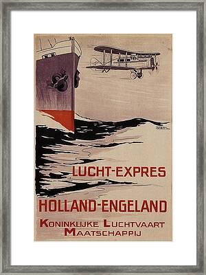 Klm - Royal Dutch Airlines Aircraft Flying Over A Steamliner Ship - Vintage Advertising Poster Framed Print