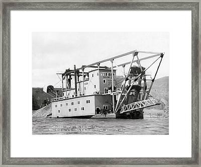 Klondyke River Gold Dredge - Alaska 1915 Framed Print by Daniel Hagerman