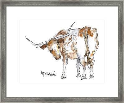 Kmcelwaine Logo Longhorn, Ollie, Texas Longhorn Art Print,watercolor Cow Painting, Whimsical, Framed Print