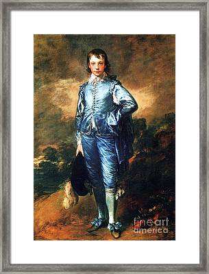 Knabe In Blau Framed Print by Pg Reproductions