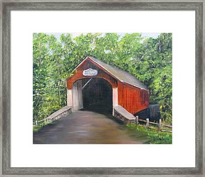 Knechts Covered Bridge Framed Print by Loretta Luglio