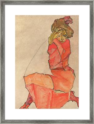 Kneeling Female In Orange-red Dress Framed Print by Egon Schiele