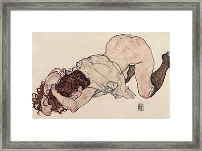 Kneeling Girl, Resting On Both Elbows Framed Print by Egon Schiele