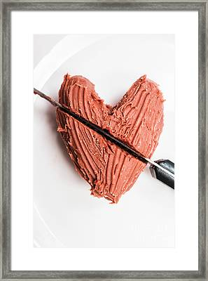 Knife Cutting Heart Shape Chocolate On Plate Framed Print