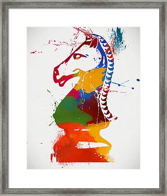 Knight Chess Piece Paint Splatter Framed Print by Dan Sproul