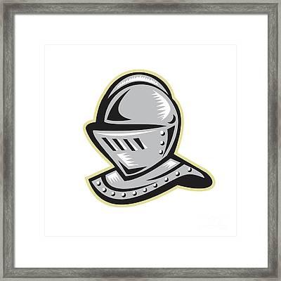 Knight Helmet Woodcut Framed Print by Aloysius Patrimonio