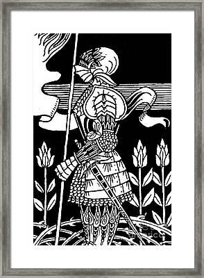 Knight Of Arthur, Preparing To Go Into Battle Framed Print