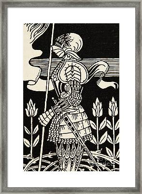 Knight Of Arthur, Preparing To Go Into Battle, Illustration From Le Morte D'arthur By Thomas Malory Framed Print
