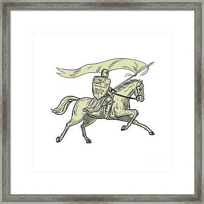 Knight Riding Horse Shield Lance Flag Drawing Framed Print